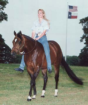 Ann Myers on Stallion, Zips Chocolate Chip, Riding Bareback